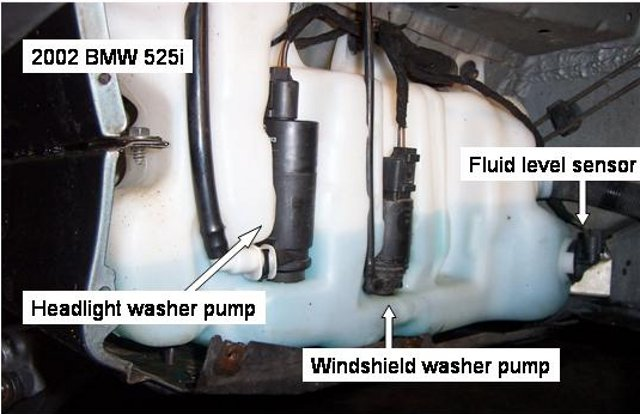 e39 washer pump location