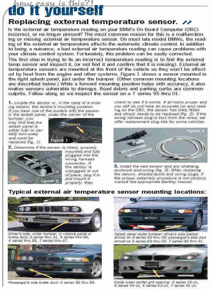 5 Series 6 Series 3 Series Ambient Temperature Sensor for BMW 1 ...