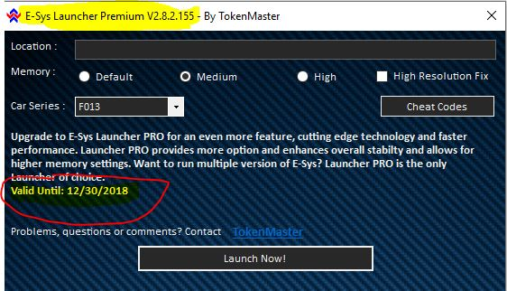 Fxx-/Ixx-/Gxx-series Reminder: E-Sys Launcher Premium 2 8 2 will not