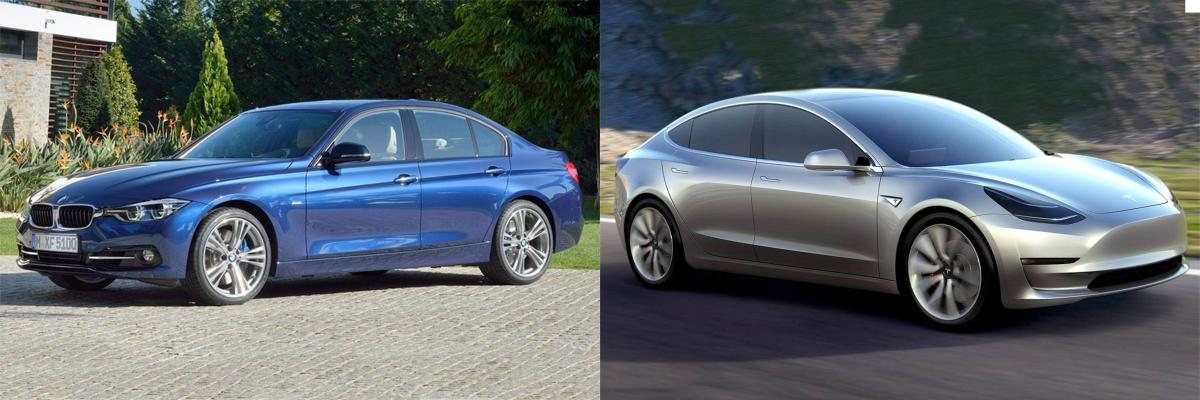 side by side tesla model 3 vs bmw 3 series bmw news at. Black Bedroom Furniture Sets. Home Design Ideas