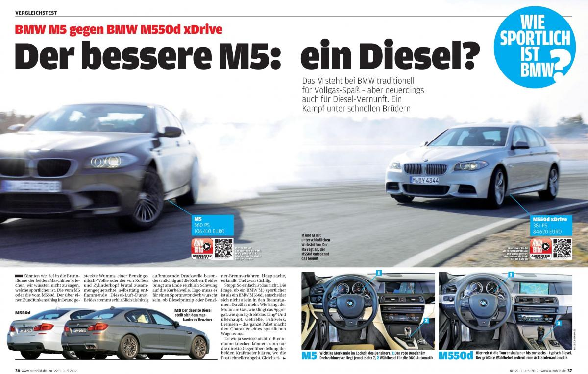 BMW F10 M5 vs. BMW M55d xDrive