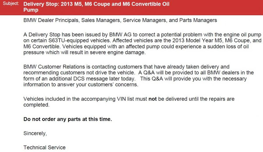 BMW M5 and M6 S63tu engine recall faulty oil pump