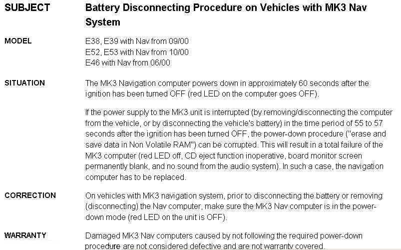 Proper battery Dissconnect - Bimmerfest - BMW Forums