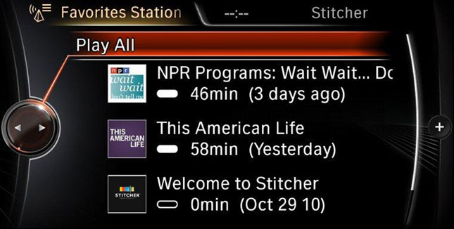Stitcher Smart Radio available for BMW Apps
