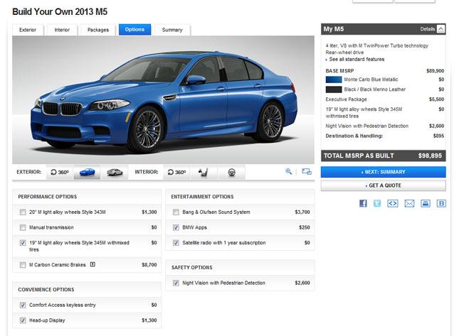 BMW M5 Configurator Live