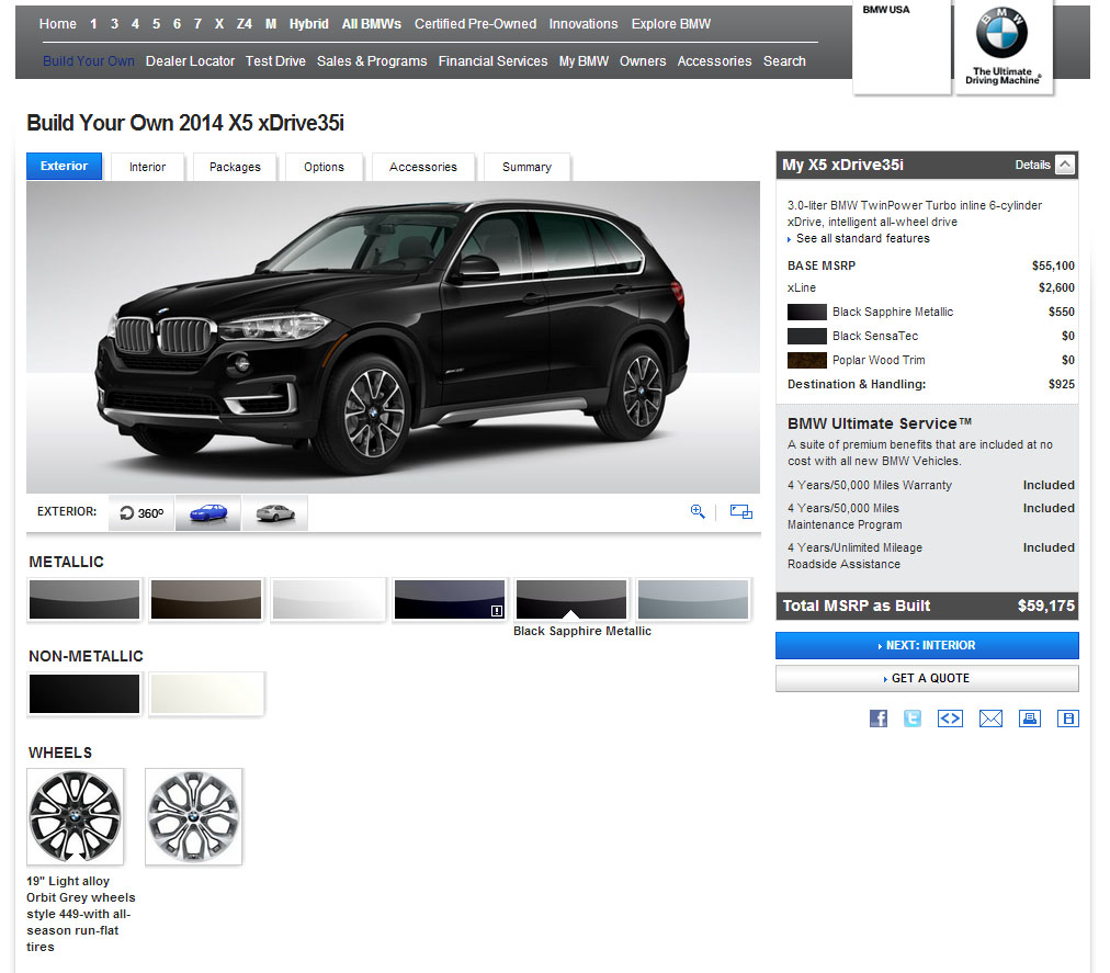 BMW X5 F15 Configurator Goes Live on BMW USA