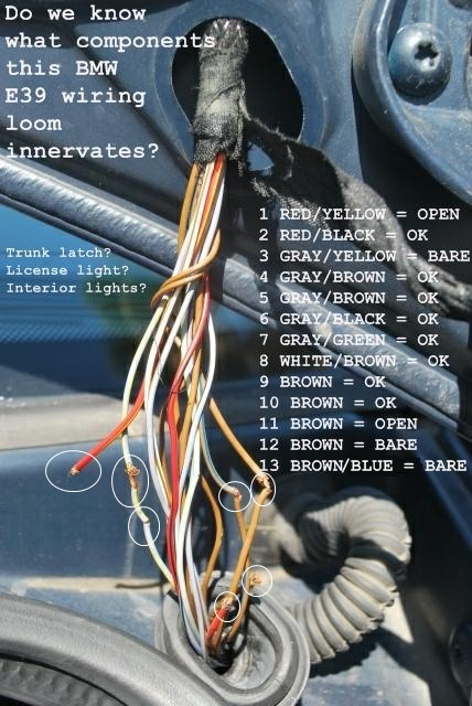e39 electrical problems traced to trunk lid harness wire chafing, Wiring diagram