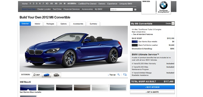 Build your own 2012 BMW M6 Convertible on BMWUSA.com