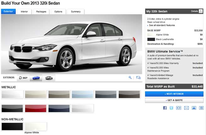 Build Your Own F I BMWUSAcom Configurator Live BMW News At - Bmw 320i cost