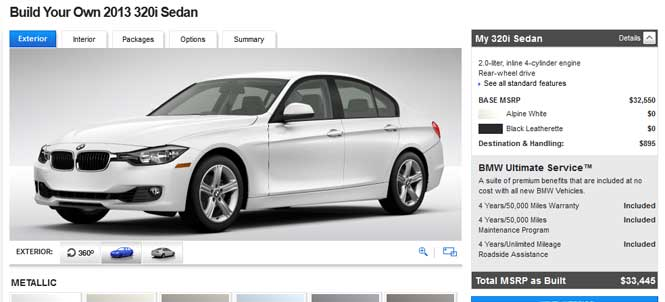 Build your own F30 320i - BMWUSA.com configurator live