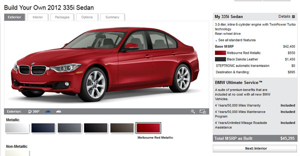 Build your own 2012 F30 328i or 335i on BMWUSA.com