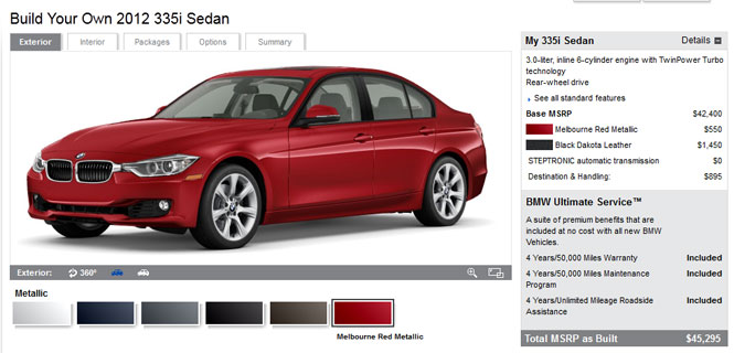 Build your Own F30 328i and 335i on BMWUSA.com