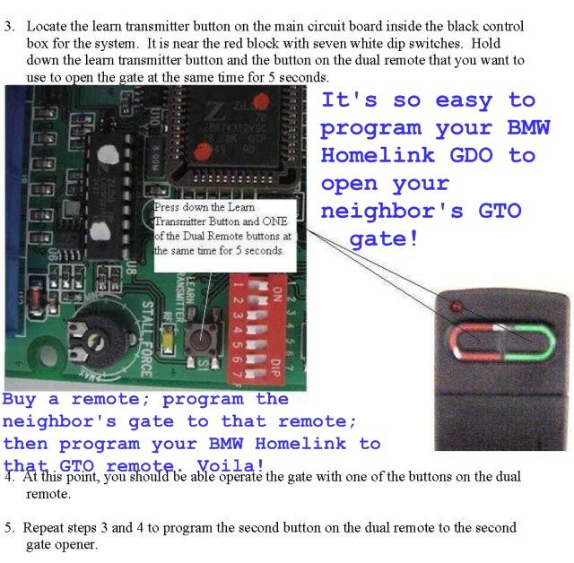 Diy For Programming The Homelink Garage Door Opener Gdo In The Bmw