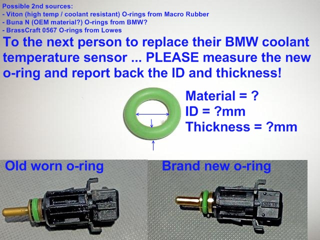 next person to replace coolant temperature sensor: please measure the  o-ring size! - bimmerfest - bmw forums