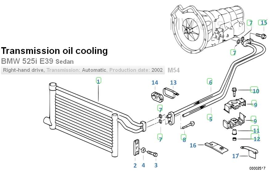 e39 1998 how to access auto trans oil cooler