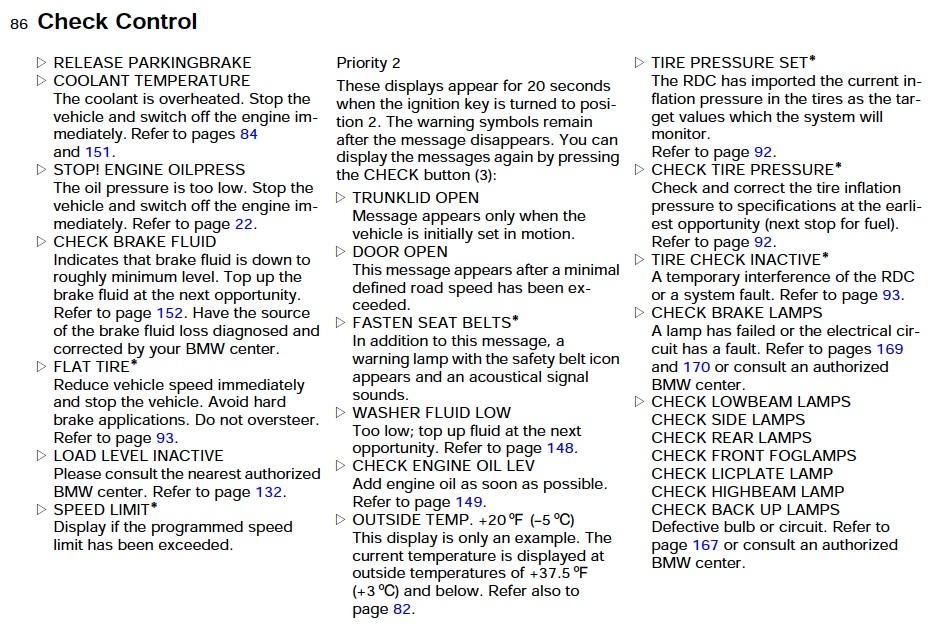 List of all possible bmw e39 instrument cluster text warnings click image for larger version name e39 check control 1g views 16686 publicscrutiny Gallery
