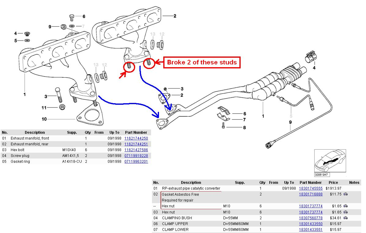 e46 325i exhaust manifold removal
