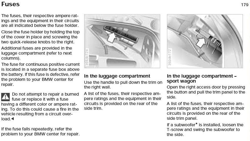 need help location of the fuse boxs and overview of fuse jpg views click image for larger version e39 trunk fuse location owners manual