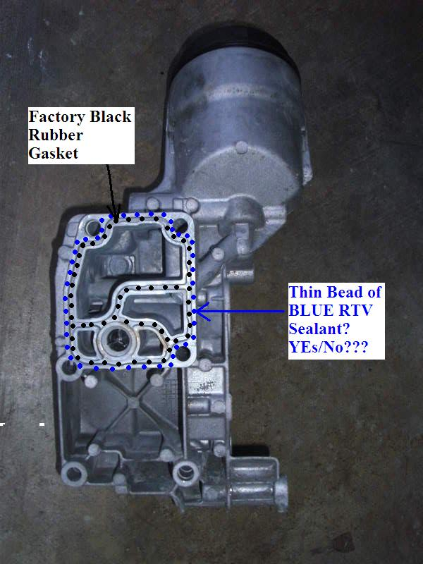Oil Filter Housing  Additional Blue Rtv Sealant