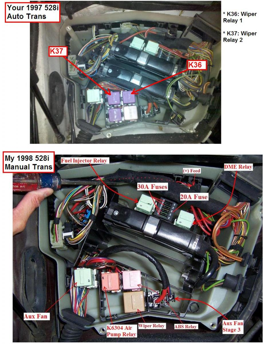 Picture & amperage & description of every single fuse & relay in the BMW E39  - Bimmerfest - BMW Forums