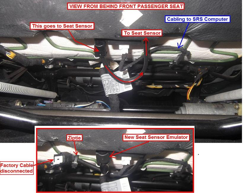 passenger seat occupancy matt sensor bypass then use appropriate software to erase the srs dash light