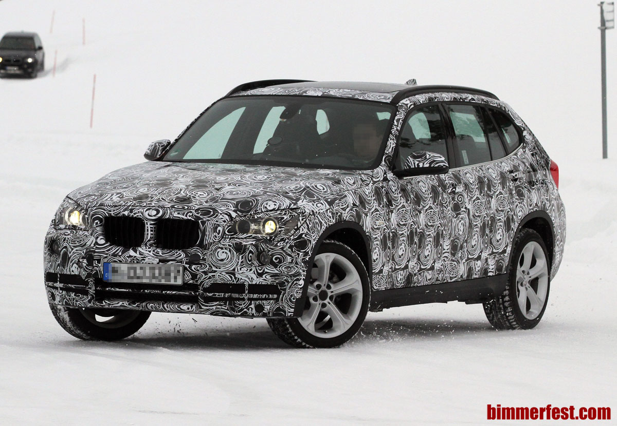 Face lifted BMW X1 spotted winter testing