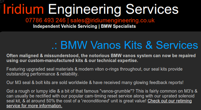 Worksheet. What are our options if our BMW E39 VANOS seals have started to