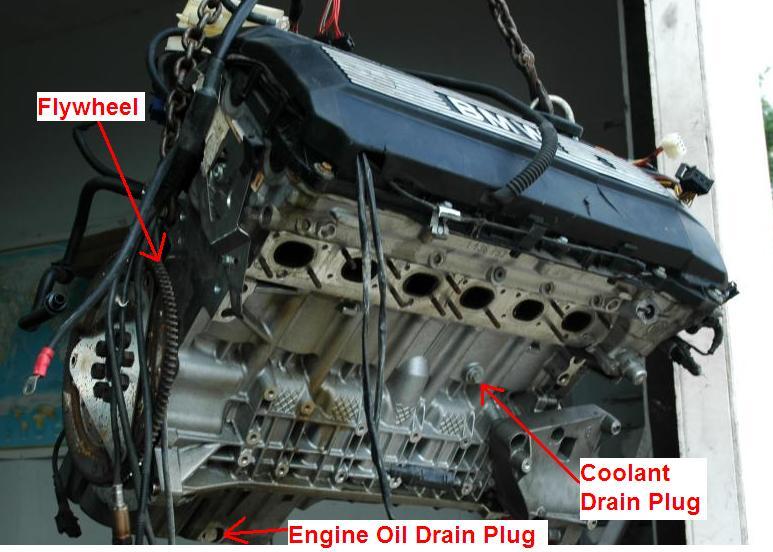 528  M52  Engine Block Coolant Drain Plug Location