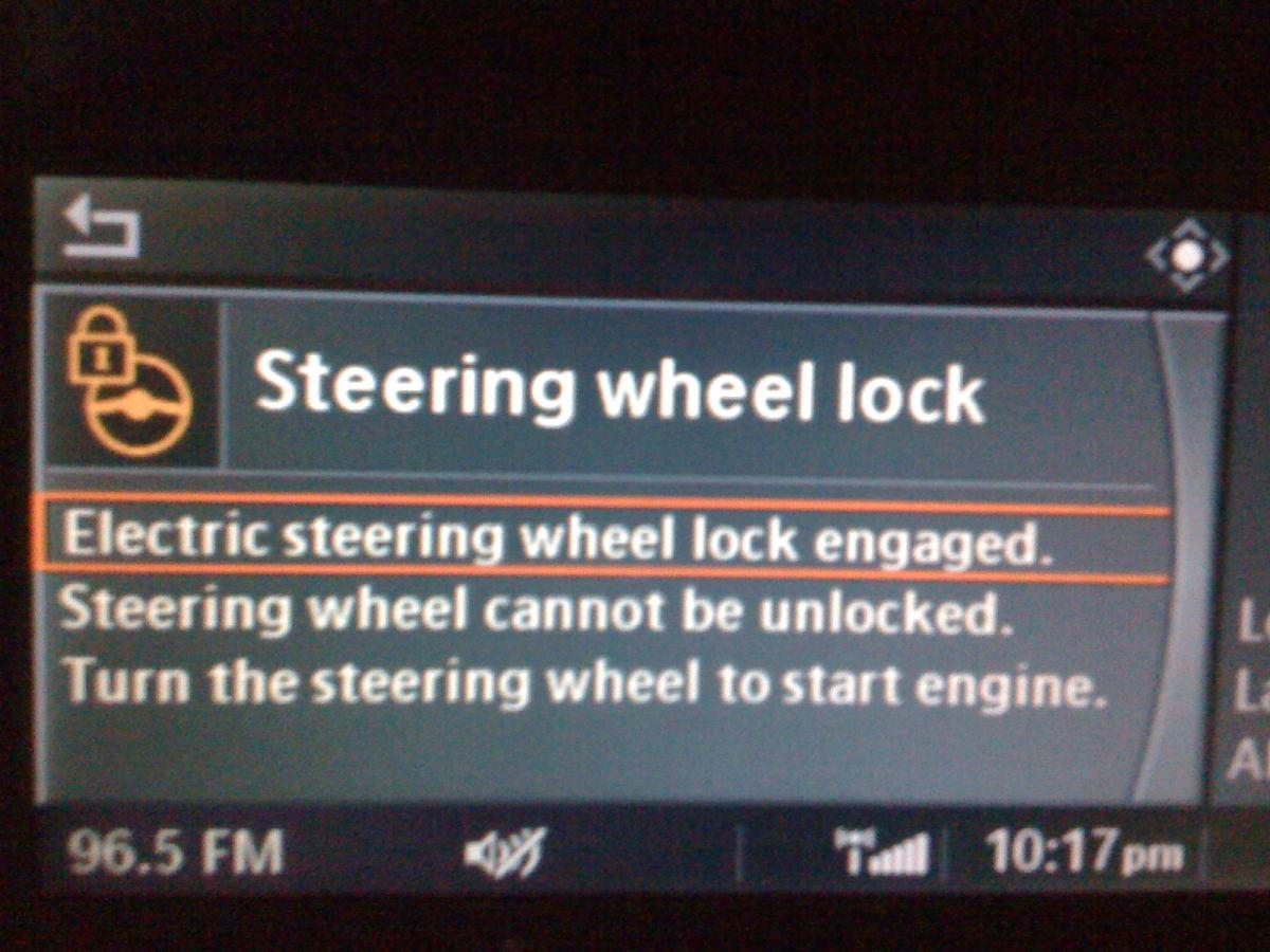 Bizarre Steering Wheel Lock Message - and the car won't