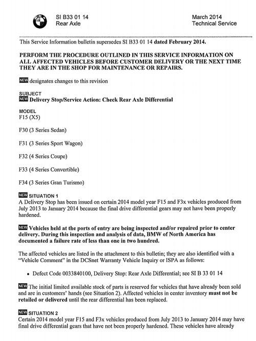 F30 final drive service bulletin