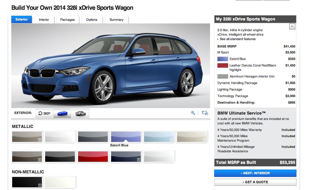 BMW 3 series sport wagon configurator