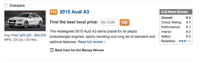 Audi A Beats BMW Series For Best Upscale Small Car For The - Audi all series list