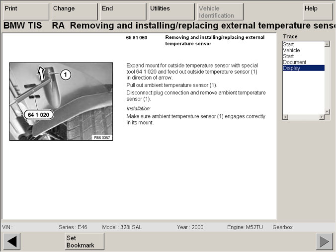 Diagram where ambient temperature sensor assembly attaches to the ...