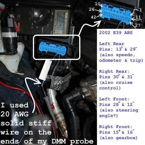 E46 ABS control module harness wheel sensor pinout for the ... Abs Sensor Bmw I Wiring Diagram on