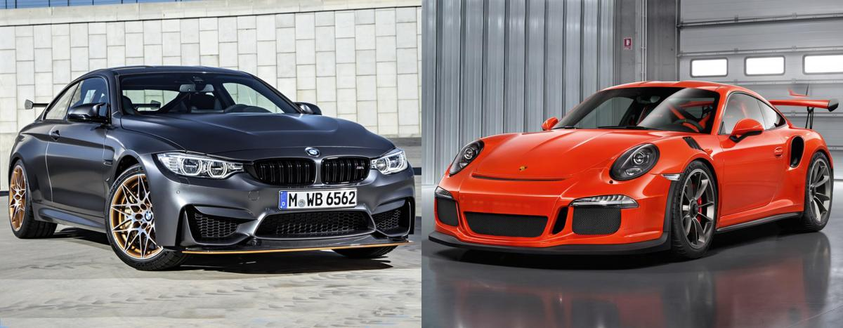 side by side bmw m4 gts vs porsche 911 gt3 rs bmw news at