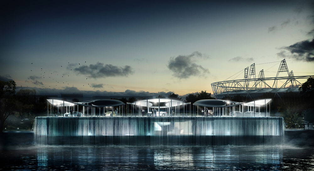BMW Olympic Pavilion water curtain