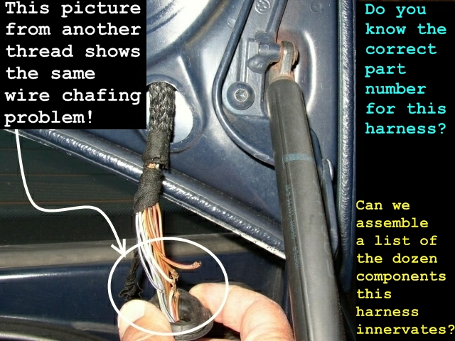 e39 electrical problems traced to trunk lid harness wire chafing for cross reference other bmw models trunk loom chafing or broken wires were e34 wiring frayed and another and another