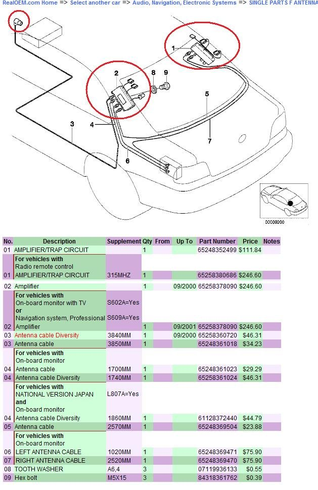 Complete list of stock E39 antennas, where are they located? (cellphone,  radio, gps) | Bimmerfest BMWBimmerfest