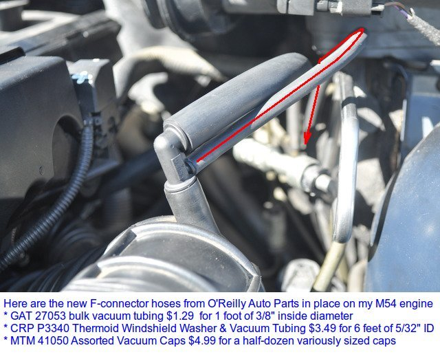 What diagrams correspond to the two vacuum hoses on the M54 air intake F  connector? | Bimmerfest BMWBimmerfest