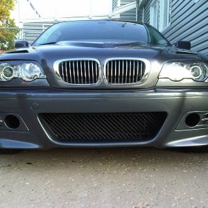 new euro r cf hood painted to match, halo projectors, chrome grill, euro plate, new m3 rep front bumper with fogs and inserts, painted to match...