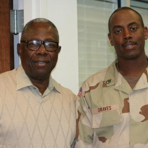 Mr. Hank Aaron and me a few hours before I leave to go Iraq the first time in 2006.